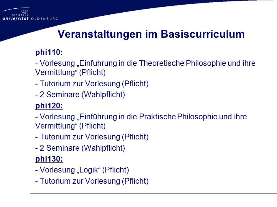 """Veranstaltungen im Basiscurriculum phi110: - Vorlesung """"Einführung in die Theoretische Philosophie und ihre Vermittlung"""" (Pflicht) - Tutorium zur Vorl"""