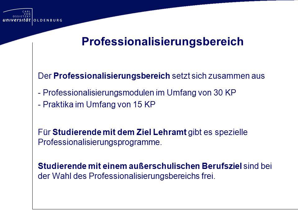 Professionalisierungsbereich Der Professionalisierungsbereich setzt sich zusammen aus - Professionalisierungsmodulen im Umfang von 30 KP - Praktika im