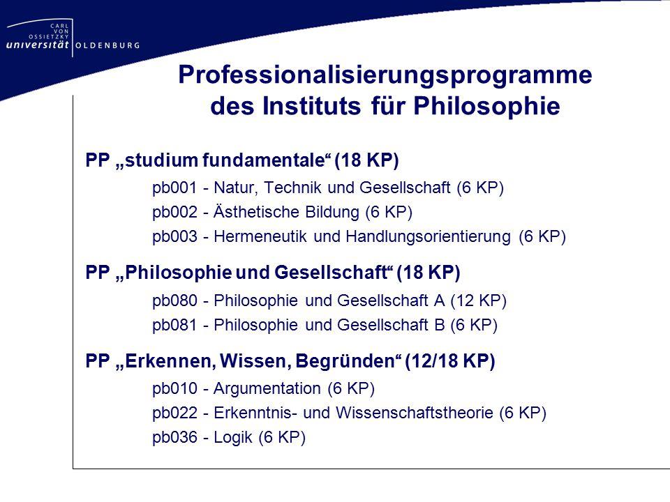 """Professionalisierungsprogramme des Instituts für Philosophie PP """"studium fundamentale"""" (18 KP) pb001 - Natur, Technik und Gesellschaft (6 KP) pb002 -"""