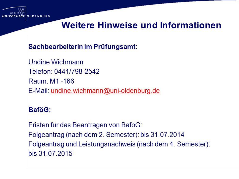 Weitere Hinweise und Informationen Sachbearbeiterin im Prüfungsamt: Undine Wichmann Telefon: 0441/798-2542 Raum: M1 -166 E-Mail: undine.wichmann@uni-o