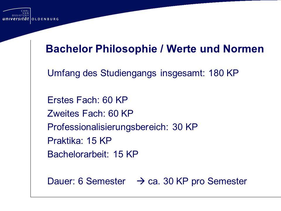 Bachelor Philosophie / Werte und Normen Umfang des Studiengangs insgesamt: 180 KP Erstes Fach: 60 KP Zweites Fach: 60 KP Professionalisierungsbereich: