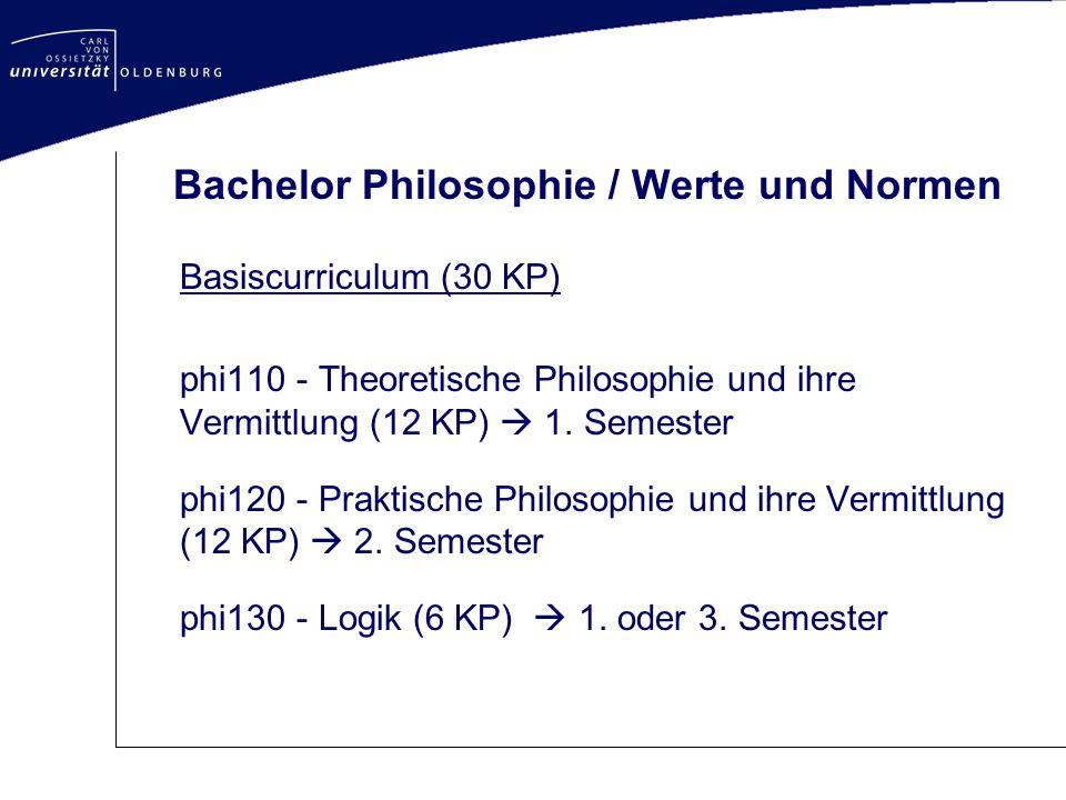 Bachelor Philosophie / Werte und Normen Basiscurriculum (30 KP) phi110 - Theoretische Philosophie und ihre Vermittlung (12 KP)  1. Semester phi120 -