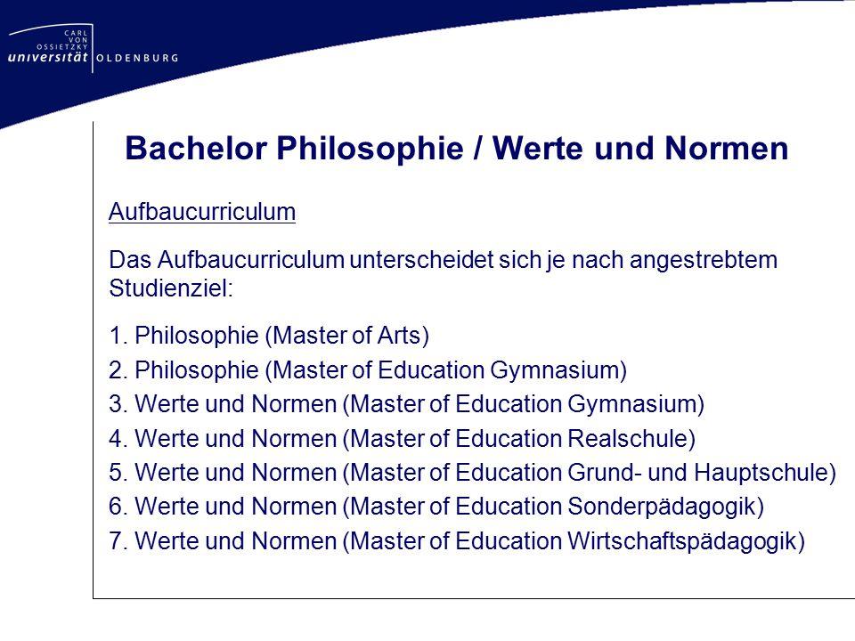Bachelor Philosophie / Werte und Normen Aufbaucurriculum Das Aufbaucurriculum unterscheidet sich je nach angestrebtem Studienziel: 1. Philosophie (Mas