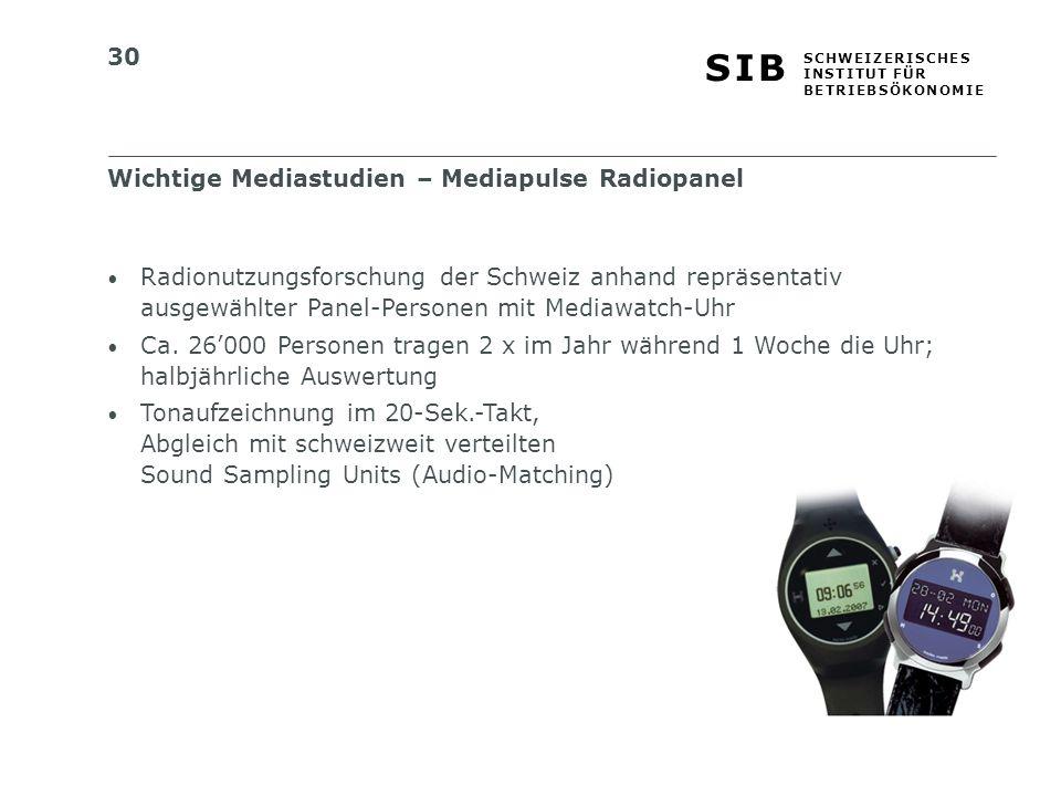 30 S I BS I B S C H W E I Z E R I S C H E S I N S T I T U T F Ü R B E T R I E B S Ö K O N O M I E Radionutzungsforschung der Schweiz anhand repräsentativ ausgewählter Panel-Personen mit Mediawatch-Uhr Ca.