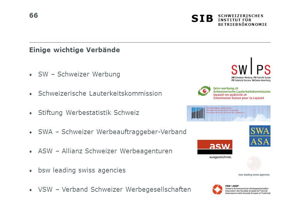 66 S I BS I B S C H W E I Z E R I S C H E S I N S T I T U T F Ü R B E T R I E B S Ö K O N O M I E SW – Schweizer Werbung Schweizerische Lauterkeitskom