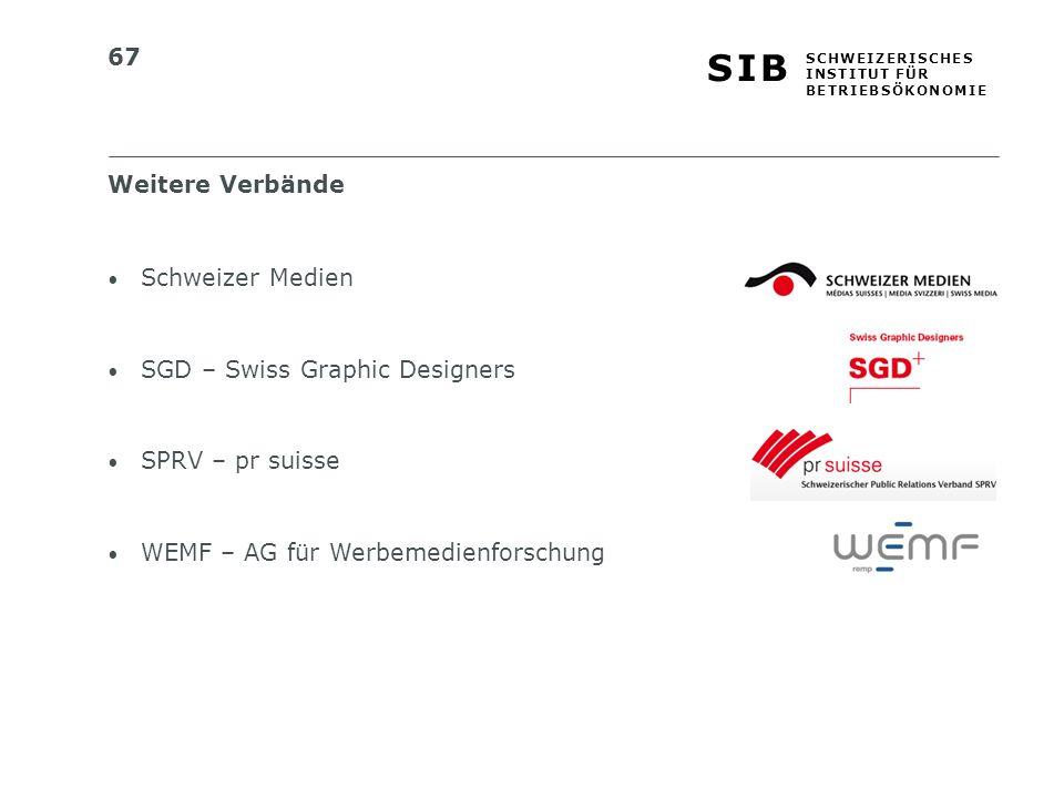 67 S I BS I B S C H W E I Z E R I S C H E S I N S T I T U T F Ü R B E T R I E B S Ö K O N O M I E Schweizer Medien SGD – Swiss Graphic Designers SPRV – pr suisse WEMF – AG für Werbemedienforschung Weitere Verbände