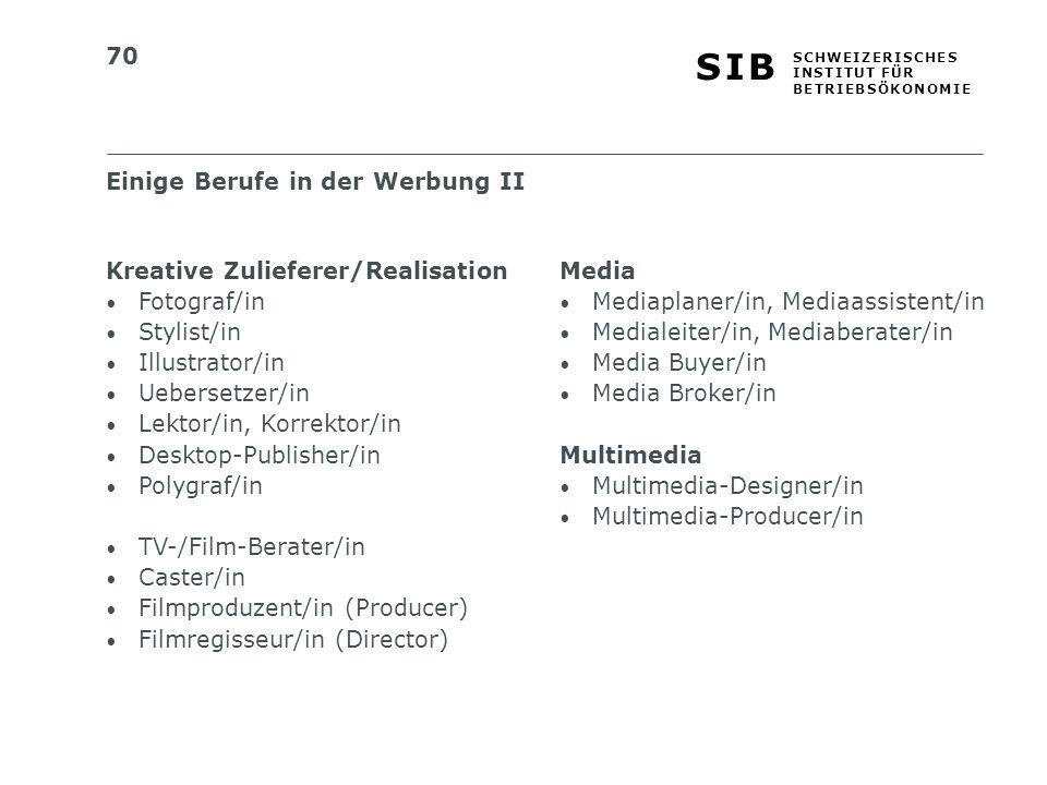 70 S I BS I B S C H W E I Z E R I S C H E S I N S T I T U T F Ü R B E T R I E B S Ö K O N O M I E Kreative Zulieferer/Realisation Fotograf/in Stylist/in Illustrator/in Uebersetzer/in Lektor/in, Korrektor/in Desktop-Publisher/in Polygraf/in TV-/Film-Berater/in Caster/in Filmproduzent/in (Producer) Filmregisseur/in (Director) Einige Berufe in der Werbung II Media Mediaplaner/in, Mediaassistent/in Medialeiter/in, Mediaberater/in Media Buyer/in Media Broker/in Multimedia Multimedia-Designer/in Multimedia-Producer/in