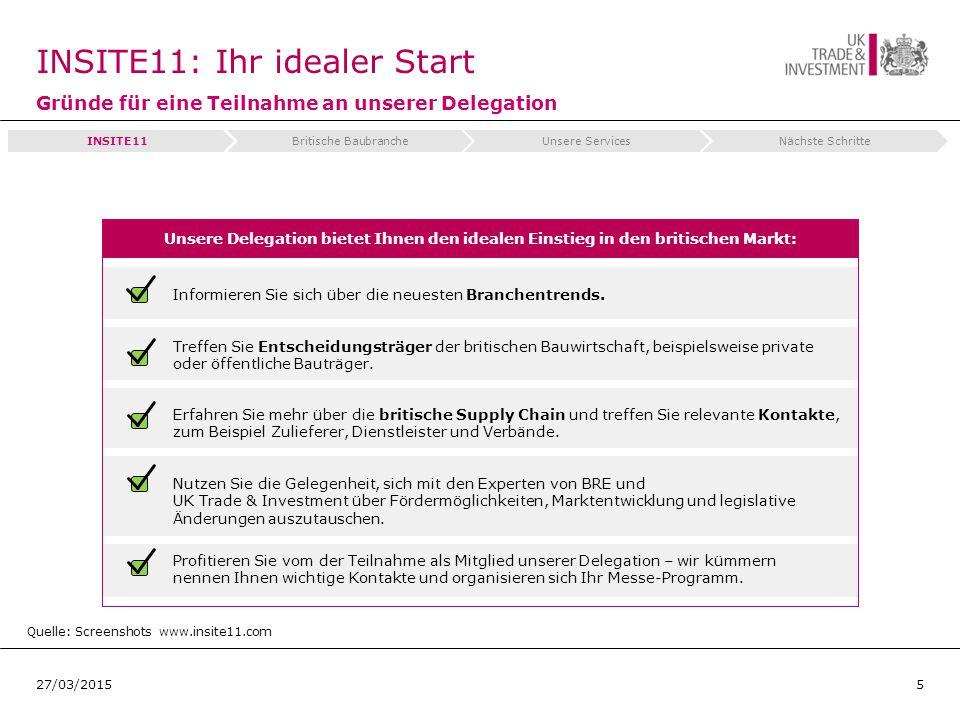 INSITE11: Ihr idealer Start Gründe für eine Teilnahme an unserer Delegation 527/03/2015 Quelle: Screenshots www.insite11.com Informieren Sie sich über die neuesten Branchentrends.