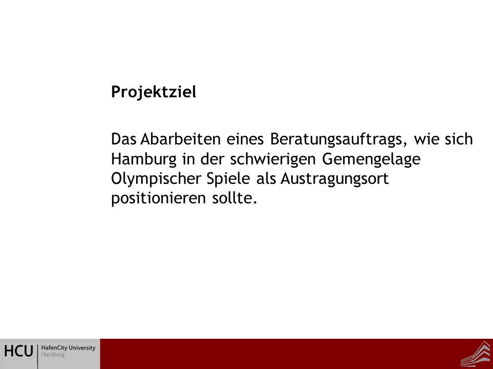 Beratung zur Hausarbeit Projektziel Das Abarbeiten eines Beratungsauftrags, wie sich Hamburg in der schwierigen Gemengelage Olympischer Spiele als Austragungsort positionieren sollte.