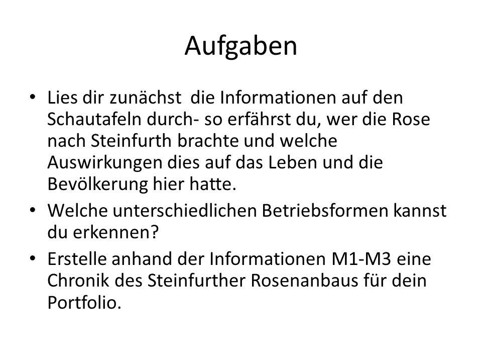 Aufgaben Lies dir zunächst die Informationen auf den Schautafeln durch- so erfährst du, wer die Rose nach Steinfurth brachte und welche Auswirkungen dies auf das Leben und die Bevölkerung hier hatte.