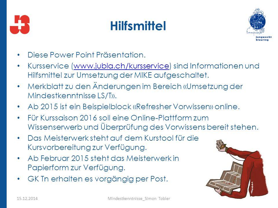 Hilfsmittel Diese Power Point Präsentation. Kursservice (www.jubla.ch/kursservice) sind Informationen und Hilfsmittel zur Umsetzung der MIKE aufgescha