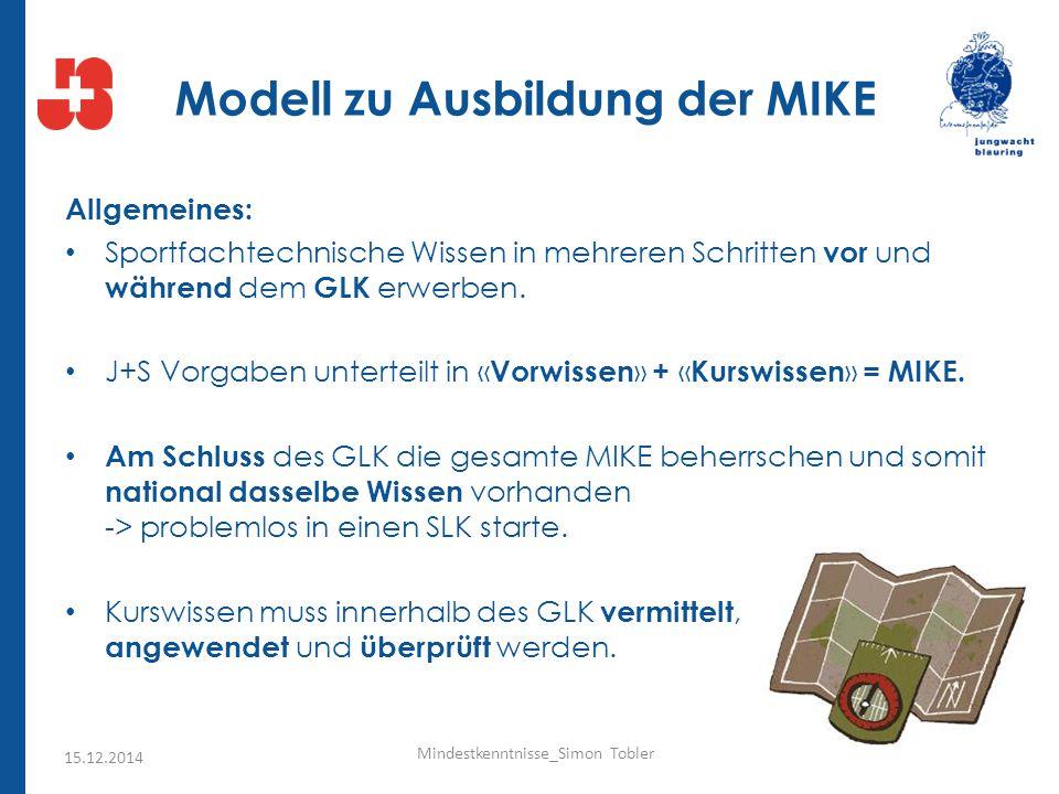 Modell zu Ausbildung der MIKE Allgemeines: Sportfachtechnische Wissen in mehreren Schritten vor und während dem GLK erwerben. J+S Vorgaben unterteilt