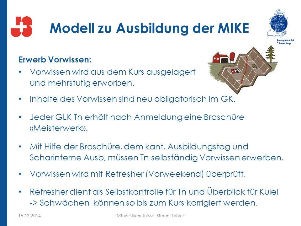 Modell zu Ausbildung der MIKE Erwerb Vorwissen: Vorwissen wird aus dem Kurs ausgelagert und mehrstufig erworben. Inhalte des Vorwissen sind neu obliga