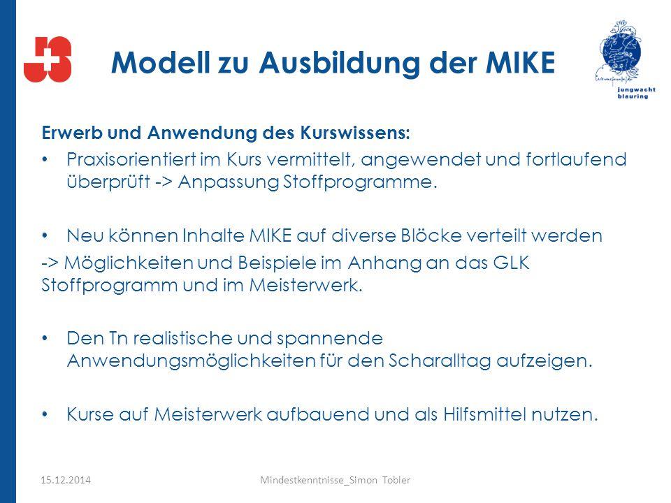 Modell zu Ausbildung der MIKE Erwerb und Anwendung des Kurswissens: Praxisorientiert im Kurs vermittelt, angewendet und fortlaufend überprüft -> Anpas