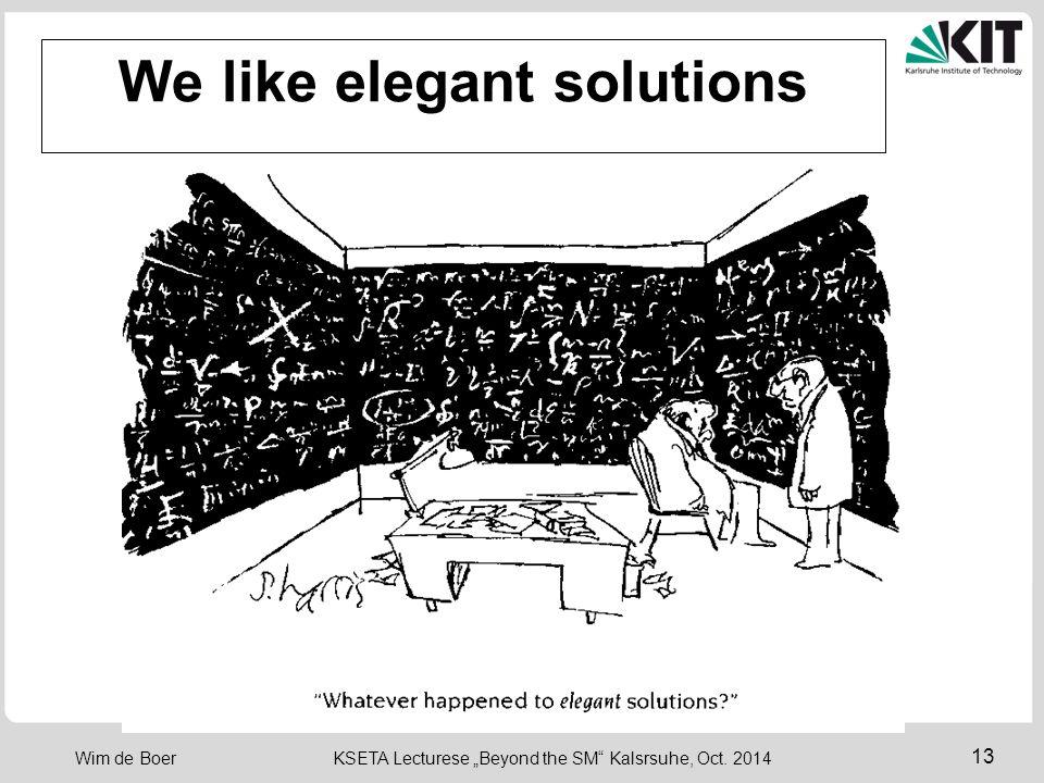 """13 Wim de Boer KSETA Lecturese """"Beyond the SM Kalsrsuhe, Oct. 2014 We like elegant solutions"""