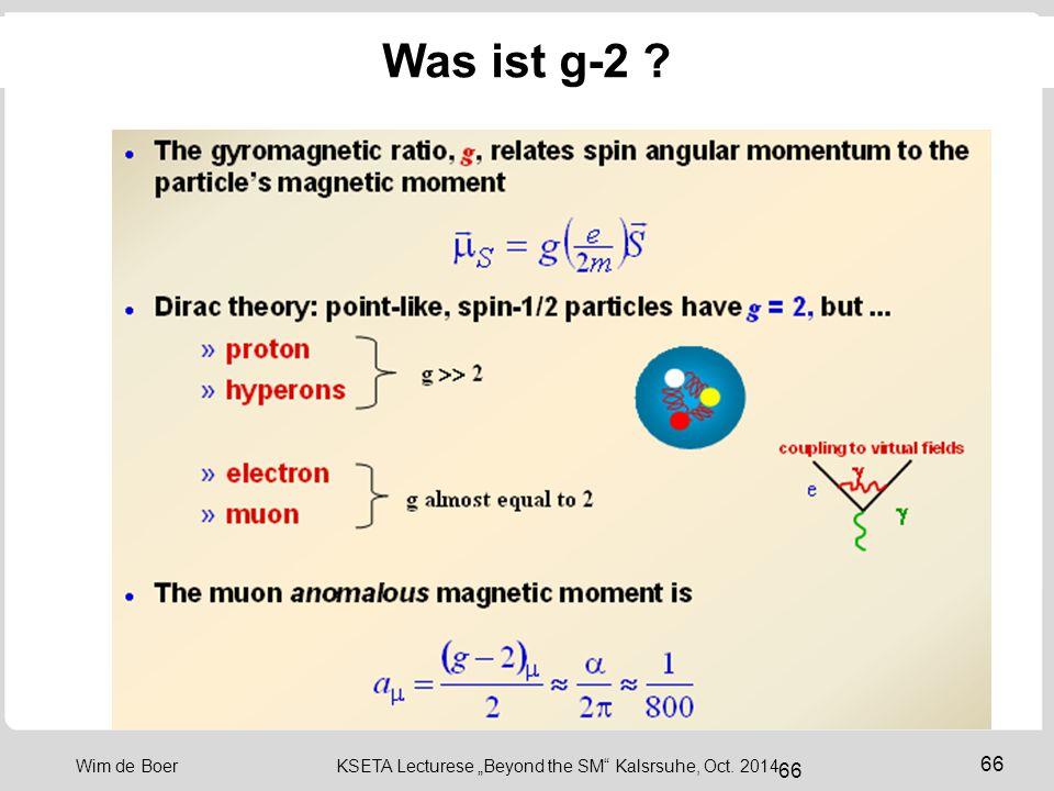 "66 Wim de Boer KSETA Lecturese ""Beyond the SM Kalsrsuhe, Oct. 2014 66 Was ist g-2 ?"