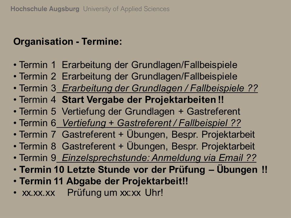 Organisation - Termine: Termin 1 Erarbeitung der Grundlagen/Fallbeispiele Termin 2 Erarbeitung der Grundlagen/Fallbeispiele Termin 3 Erarbeitung der Grundlagen / Fallbeispiele ?.