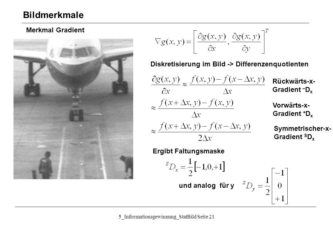 5_Informationsgewinnung_StatBild Seite 21 Merkmal Gradient Bildmerkmale Diskretisierung im Bild -> Differenzenquotienten Rückwärts-x- Gradient – D x V