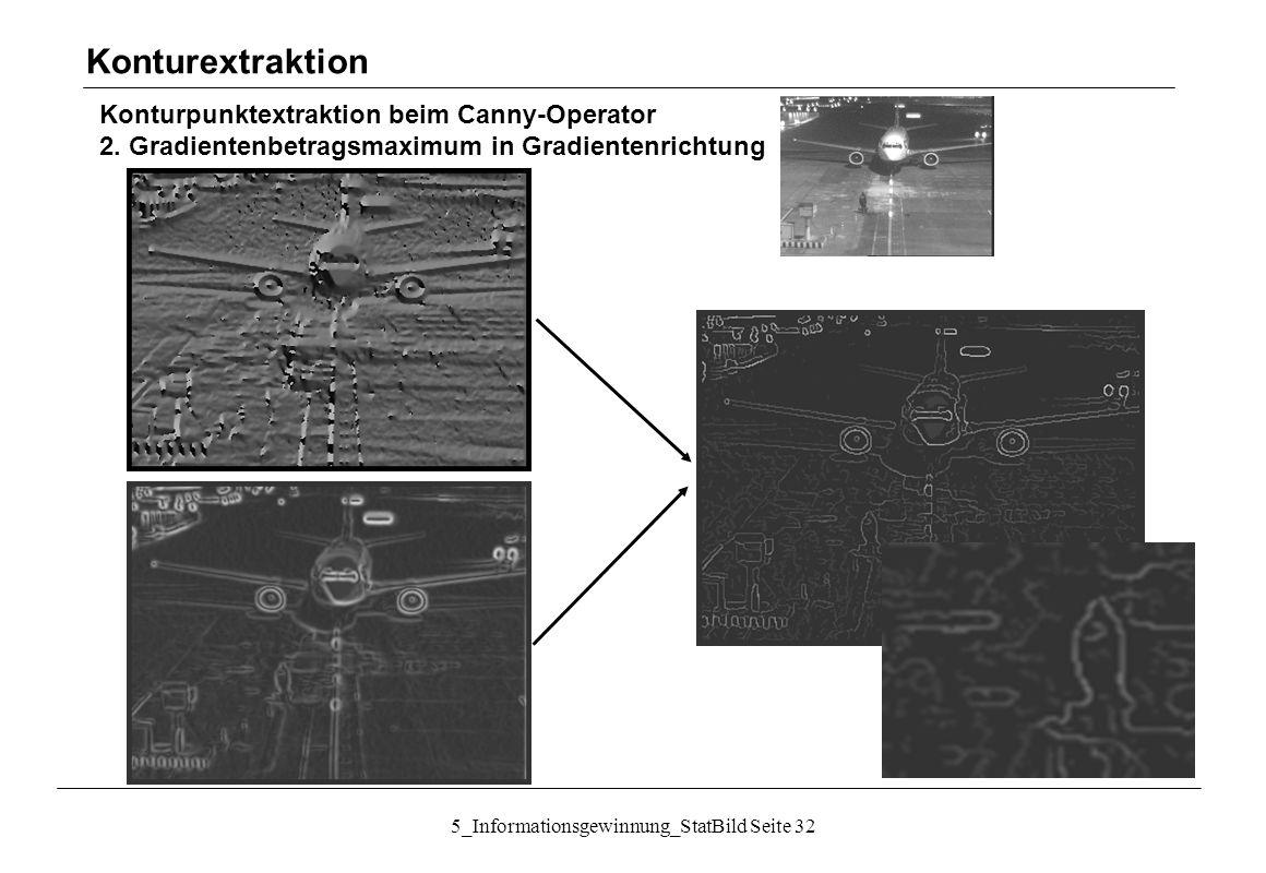 5_Informationsgewinnung_StatBild Seite 32 Konturpunktextraktion beim Canny-Operator 2. Gradientenbetragsmaximum in Gradientenrichtung Konturextraktion