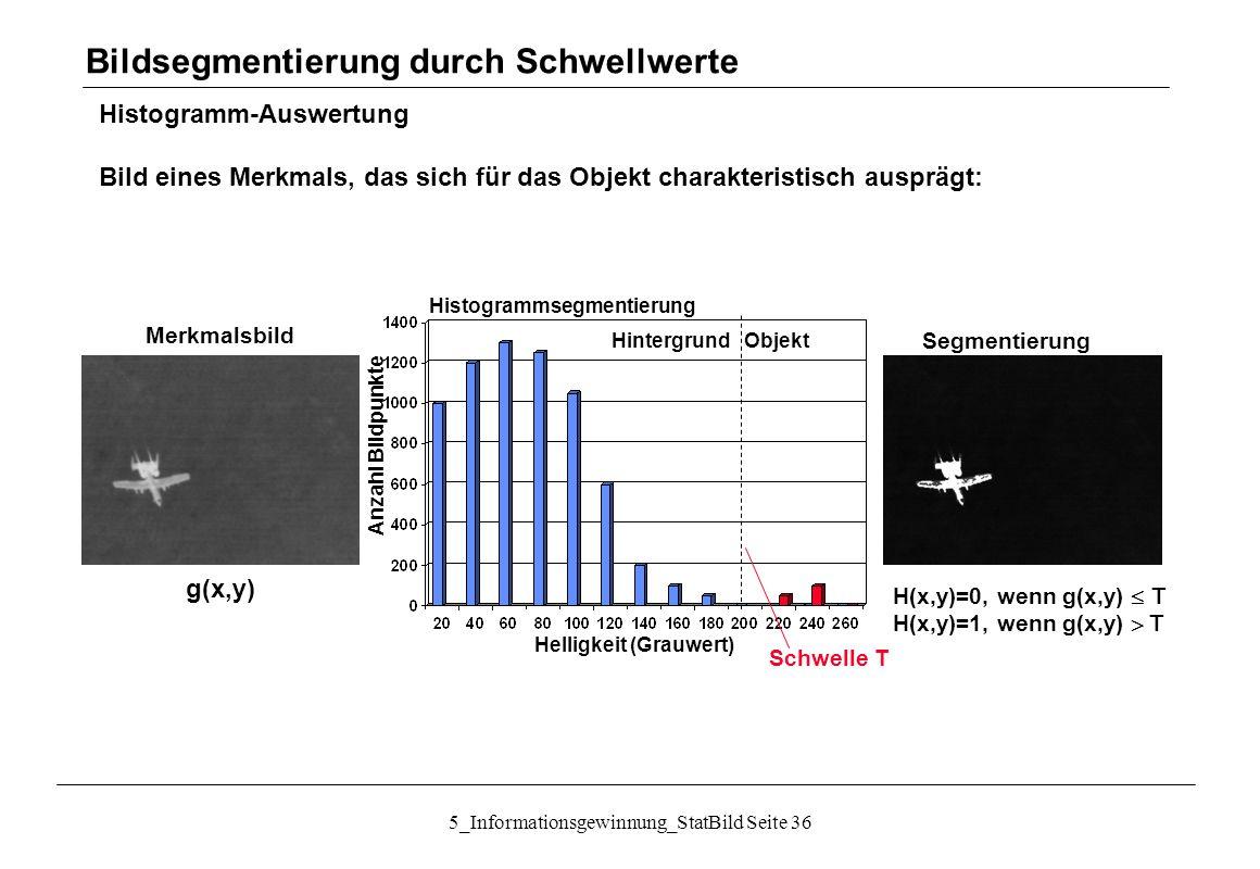 5_Informationsgewinnung_StatBild Seite 36 Histogramm-Auswertung Bild eines Merkmals, das sich für das Objekt charakteristisch ausprägt: Bildsegmentier
