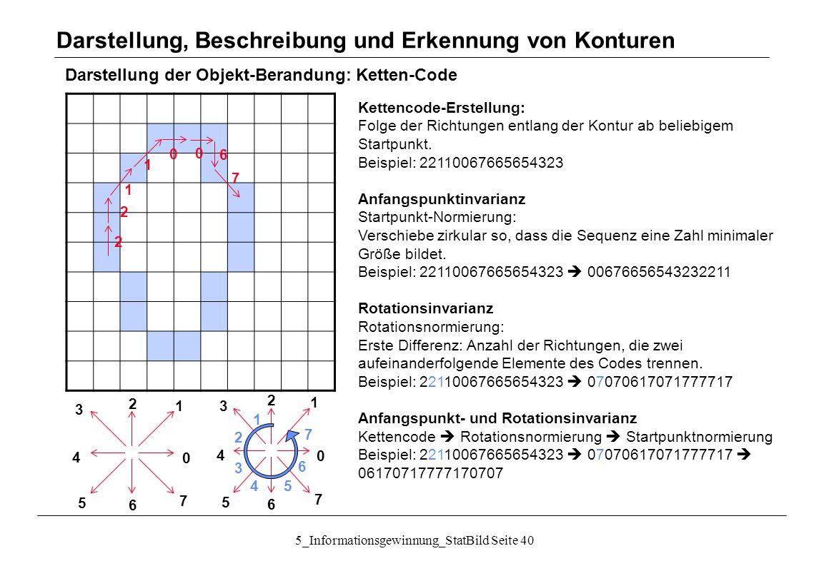 5_Informationsgewinnung_StatBild Seite 40 Darstellung der Objekt-Berandung: Ketten-Code Darstellung, Beschreibung und Erkennung von Konturen 2 2 1 1 0