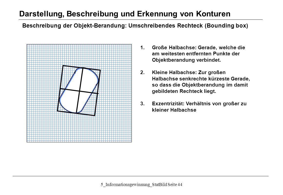 5_Informationsgewinnung_StatBild Seite 44 Beschreibung der Objekt-Berandung: Umschreibendes Rechteck (Bounding box) 1.Große Halbachse: Gerade, welche