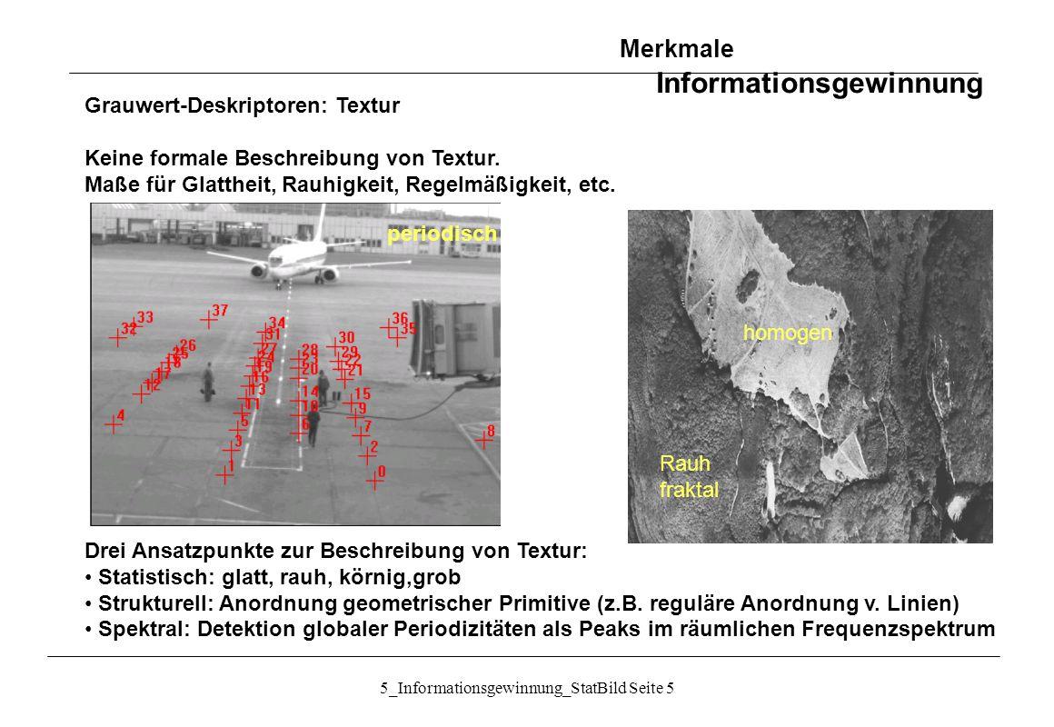 5_Informationsgewinnung_StatBild Seite 16 Textur: Vergleich der Trennungswirksamkeit von Texturmerkmalen Merkmale Informationsgewinnung Quelle: Handbook of Computer Vision
