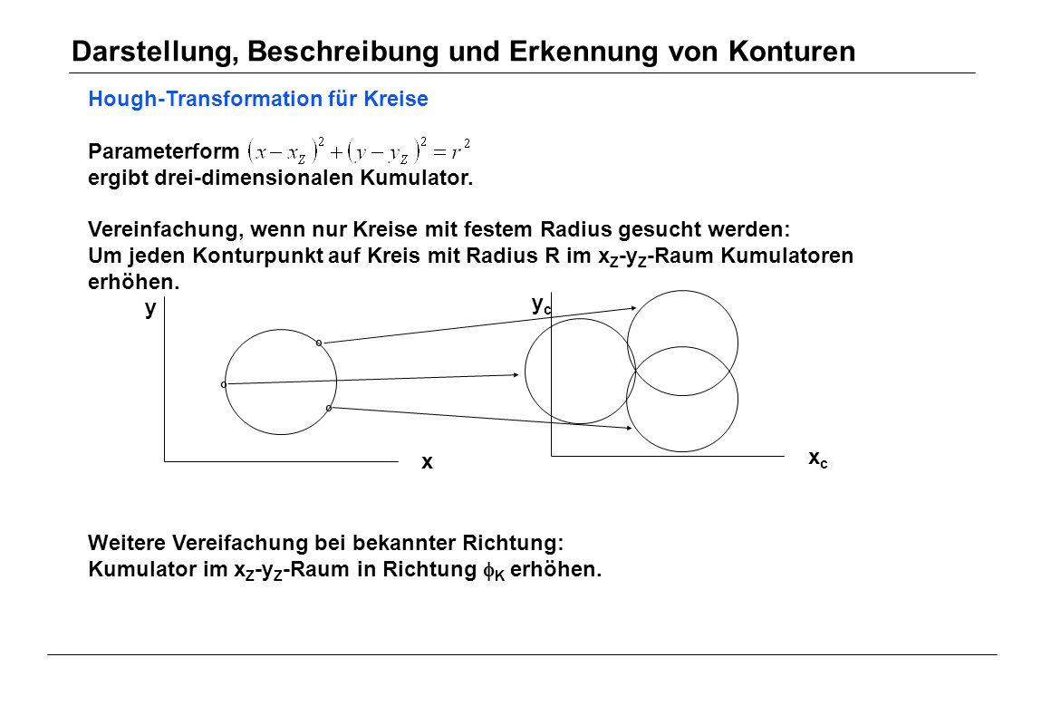 Hough-Transformation für Kreise Parameterform ergibt drei-dimensionalen Kumulator. Vereinfachung, wenn nur Kreise mit festem Radius gesucht werden: Um