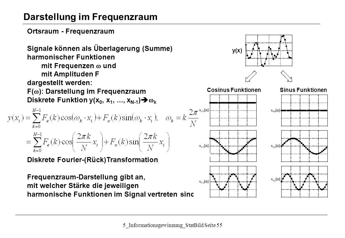 5_Informationsgewinnung_StatBild Seite 55 Ortsraum - Frequenzraum Signale können als Überlagerung (Summe) harmonischer Funktionen mit Frequenzen  und