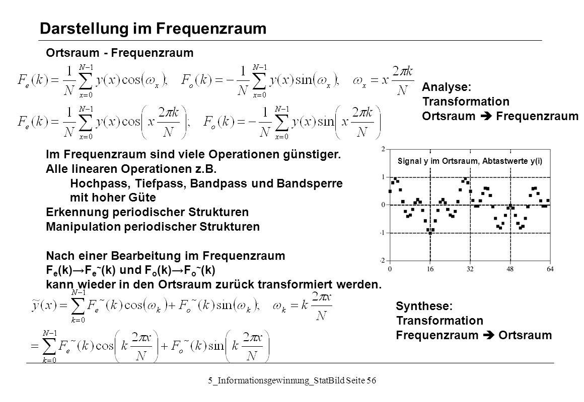 5_Informationsgewinnung_StatBild Seite 56 Ortsraum - Frequenzraum Im Frequenzraum sind viele Operationen günstiger. Alle linearen Operationen z.B. Hoc