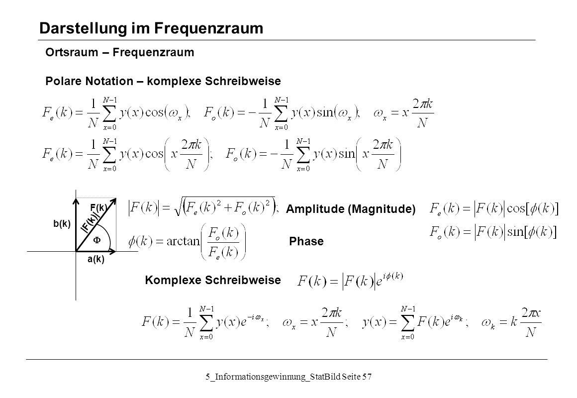 5_Informationsgewinnung_StatBild Seite 57 Ortsraum – Frequenzraum Polare Notation – komplexe Schreibweise Darstellung im Frequenzraum a(k) b(k) F(k) 