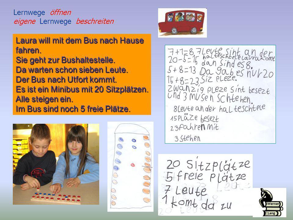Laura will mit dem Bus nach Hause fahren. Sie geht zur Bushaltestelle. Da warten schon sieben Leute. Der Bus nach Utfort kommt. Es ist ein Minibus mit
