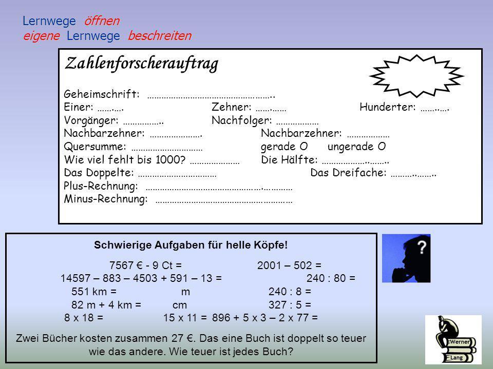 Zahlenforscherauftrag Geheimschrift: ……………………………………………..