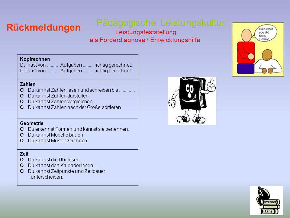 Pädagogische Leistungskultur Pädagogische Leistungskultur Leistungsfeststellung als Förderdiagnose / Entwicklungshilfe Rückmeldungen Kopfrechnen Du ha