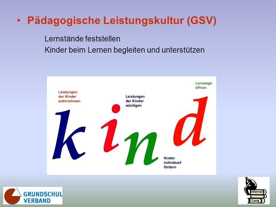 Pädagogische Leistungskultur (GSV) Lernstände feststellen Kinder beim Lernen begleiten und unterstützen