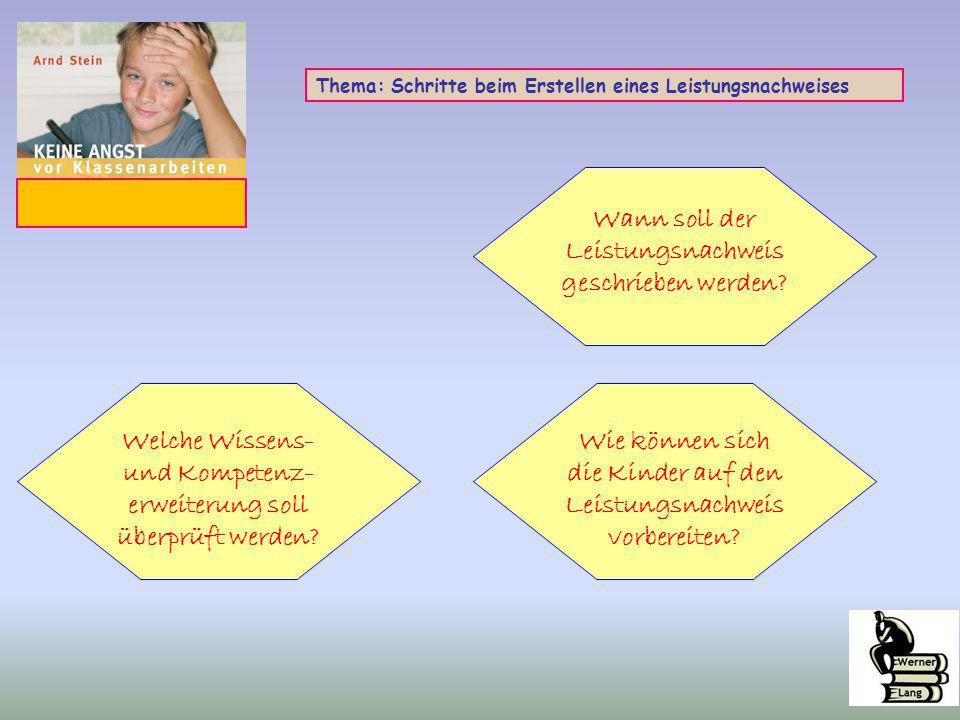 Thema: Schritte beim Erstellen eines Leistungsnachweises Wann soll der Leistungsnachweis geschrieben werden? Welche Wissens- und Kompetenz- erweiterun