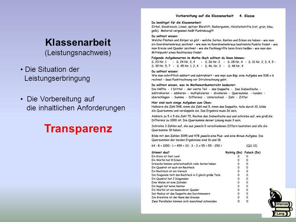 Klassenarbeit (Leistungsnachweis) Die Situation der Leistungserbringung Die Vorbereitung auf die inhaltlichen Anforderungen Transparenz