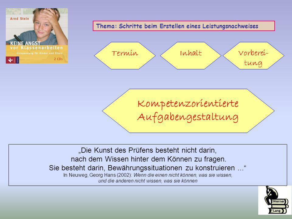 """Thema: Schritte beim Erstellen eines Leistungsnachweises Termin Kompetenzorientierte Aufgabengestaltung InhaltVorberei- tung """"Die Kunst des Prüfens be"""
