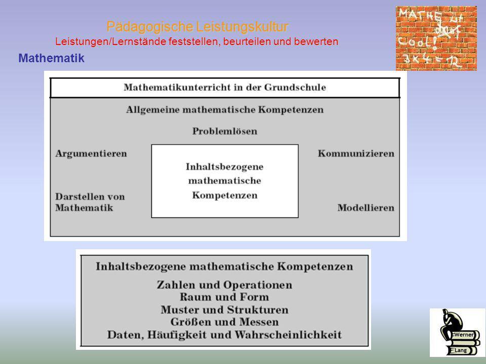 Pädagogische Leistungskultur Leistungen/Lernstände feststellen, beurteilen und bewerten Mathematik