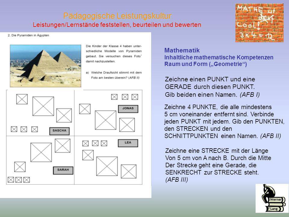 """Pädagogische Leistungskultur Leistungen/Lernstände feststellen, beurteilen und bewerten Mathematik Inhaltliche mathematische Kompetenzen Raum und Form (""""Geometrie ) Zeichne 4 PUNKTE, die alle mindestens 5 cm voneinander entfernt sind."""