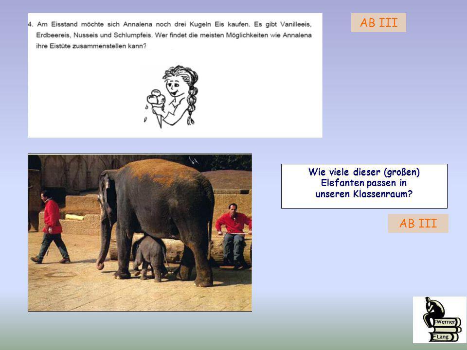 Wie viele dieser (großen) Elefanten passen in unseren Klassenraum? AB III