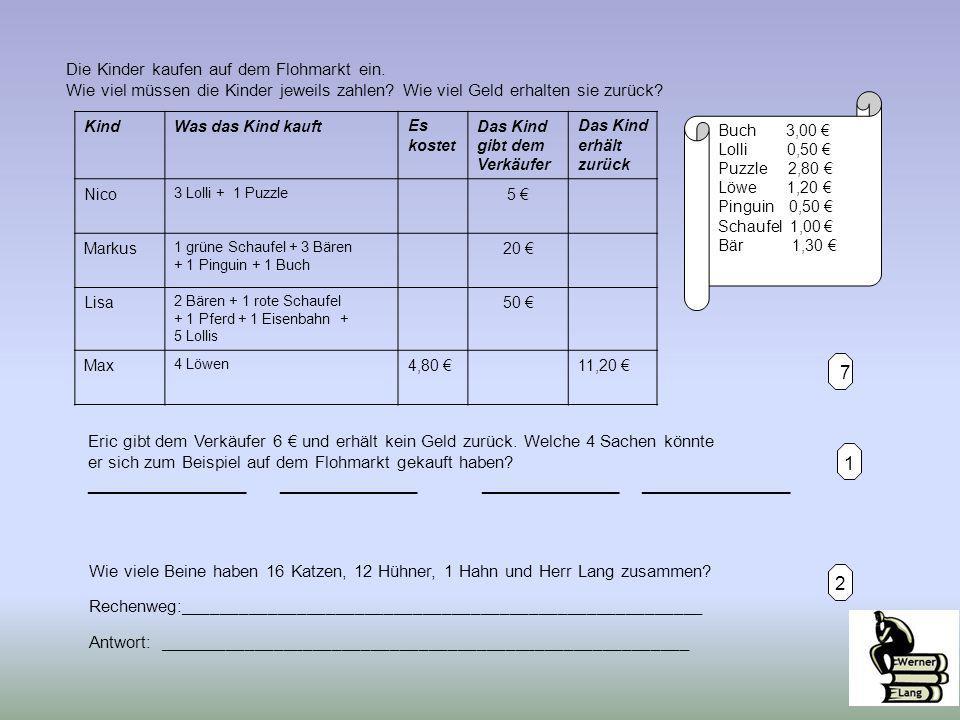 1 7 Buch 3,00 € Lolli 0,50 € Puzzle 2,80 € Löwe 1,20 € Pinguin 0,50 € Schaufel 1,00 € Bär 1,30 € Die Kinder kaufen auf dem Flohmarkt ein. Wie viel müs