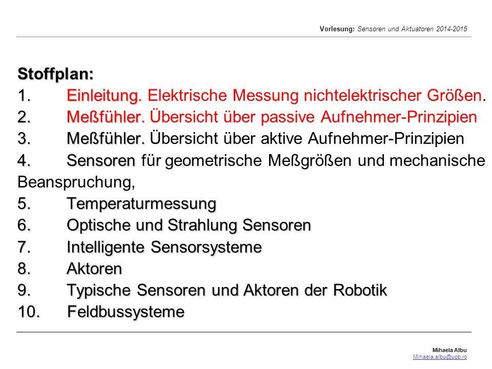 Mihaela Albu Mihaela.albu@upb.ro Vorlesung: Sensoren und Aktuatoren 2014-2015 Spannungsteiler-Meßschaltungen: Ohmsche Widerstands-Meßfühler Spannungsteiler-Meßschaltungen: unbelasteter Spannungsteiler R 0 = R 1 +R 2 mit dem Lastwiderstand R 3 =  konstante Speisespannung U 0 die bezogene Teilspannung: U 2 =U 0 (R 2 /R 0 ) Die Kennlinie U 2 =f (R 2 ) ist hierbei linear.