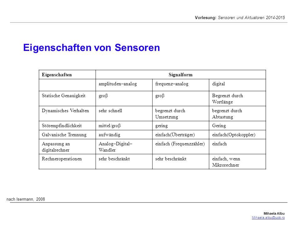Mihaela Albu Mihaela.albu@upb.ro Vorlesung: Sensoren und Aktuatoren 2014-2015 Eigenschaften von Sensoren nach Isermann, 2008 EigenschaftenSignalform a