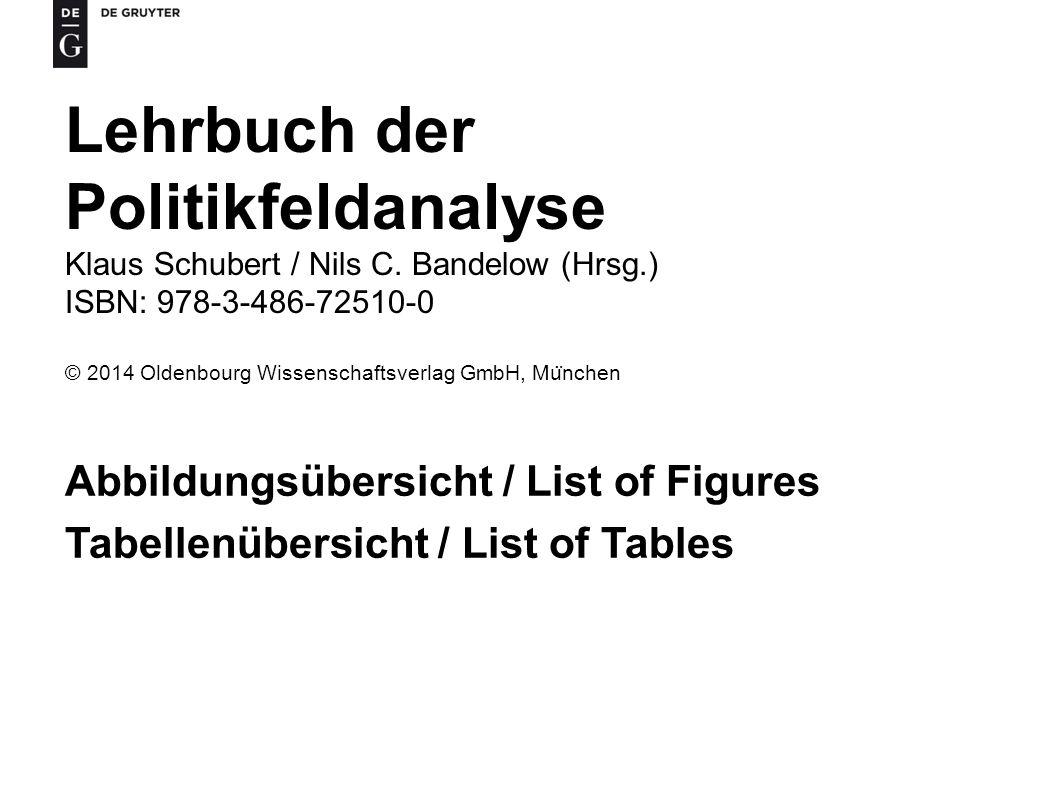 Lehrbuch der Politikfeldanalyse Klaus Schubert / Nils C.