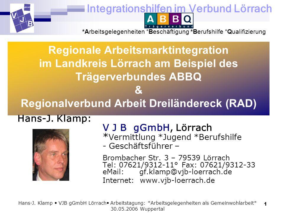 Integrationshilfen im Verbund Lörrach *Arbeitsgelegenheiten *Beschäftigung *Berufshilfe *Qualifizierung 1 Hans-J. Klamp VJB gGmbH Lörrach Arbeitstagun