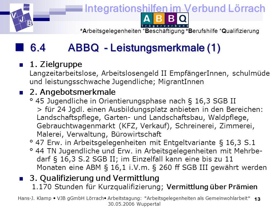 Integrationshilfen im Verbund Lörrach *Arbeitsgelegenheiten *Beschäftigung *Berufshilfe *Qualifizierung 13 Hans-J. Klamp VJB gGmbH Lörrach Arbeitstagu