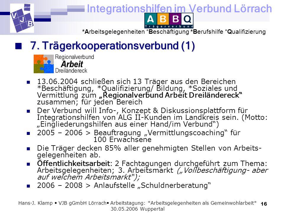 Integrationshilfen im Verbund Lörrach *Arbeitsgelegenheiten *Beschäftigung *Berufshilfe *Qualifizierung 16 Hans-J. Klamp VJB gGmbH Lörrach Arbeitstagu
