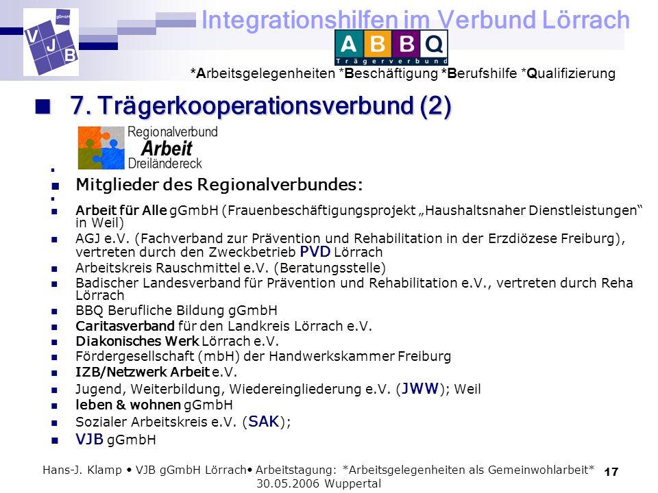 Integrationshilfen im Verbund Lörrach *Arbeitsgelegenheiten *Beschäftigung *Berufshilfe *Qualifizierung 17 Hans-J. Klamp VJB gGmbH Lörrach Arbeitstagu