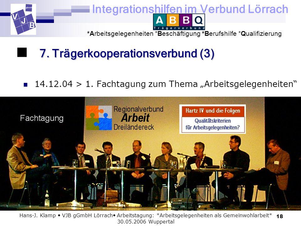 Integrationshilfen im Verbund Lörrach *Arbeitsgelegenheiten *Beschäftigung *Berufshilfe *Qualifizierung 18 Hans-J. Klamp VJB gGmbH Lörrach Arbeitstagu